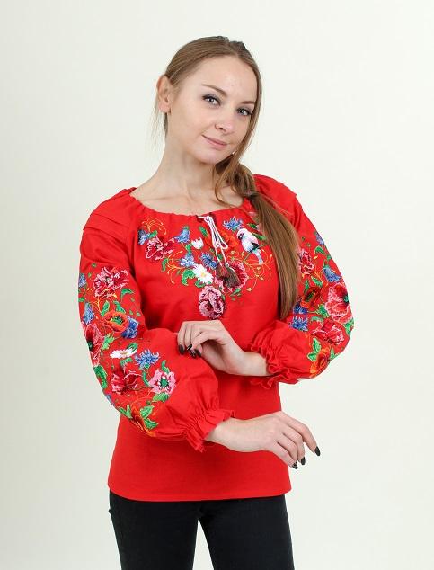 Купити жіночу вишиту сорочку Солов'їна пісня бохо (червона)в Україні від Галичанка фото 1
