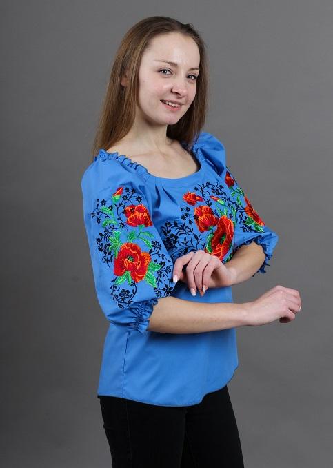 Купити жіночу вишиту сорочку Сучасність (голуба)в Україні від Галичанка фото 1