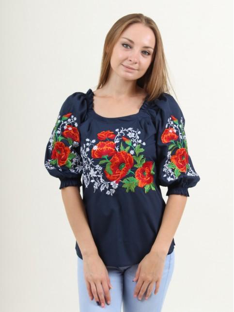 Купити жіночу вишиту сорочку Сучасність (темно синя)в Україні від Галичанка фото 1