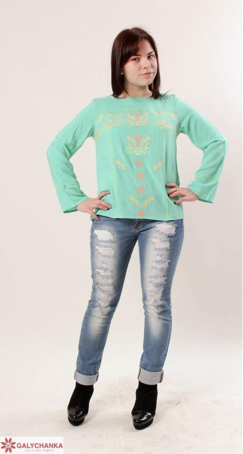 Купити жіночу вишиту сорочку Тріумф (ментол)в Україні від Галичанка фото 1