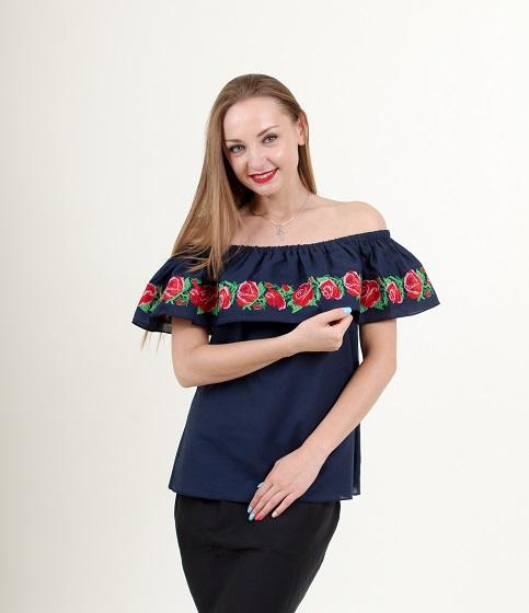 Купити жіночу вишиту сорочку Трояндові коралі (темно синя)в Україні від Галичанка фото 1