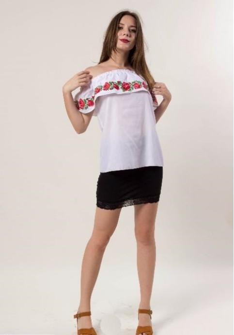Купити жіночу вишиту сорочку Трояндові коралі (біла)в Україні від Галичанка фото 1