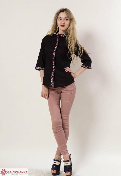 Купити жіночу вишиту сорочку Удача (чорна)в Україні від Галичанка фото 1