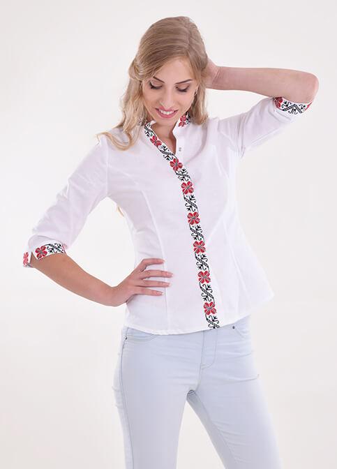 Купити жіночу вишиту сорочку Удача (біла з червоним)в Україні від Галичанка фото 1