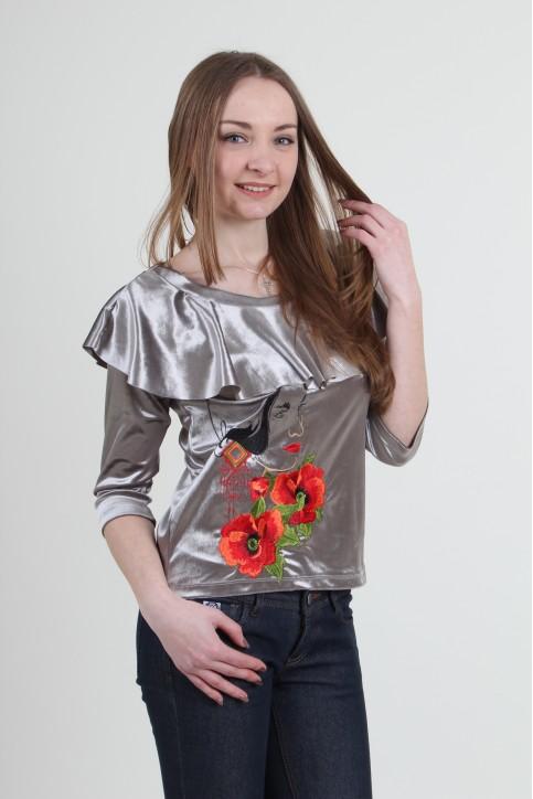 Купити жіночу вишиту сорочку Валентина (сіра)в Україні від Галичанка фото 1
