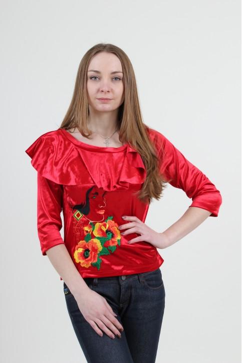 Купити жіночу вишиту сорочку Валентина (червона)в Україні від Галичанка фото 1