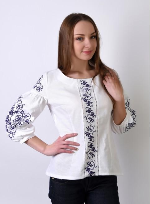 Купити жіночу вишиту сорочку Верховина (біла з фіолетовим)в Україні від Галичанка фото 1