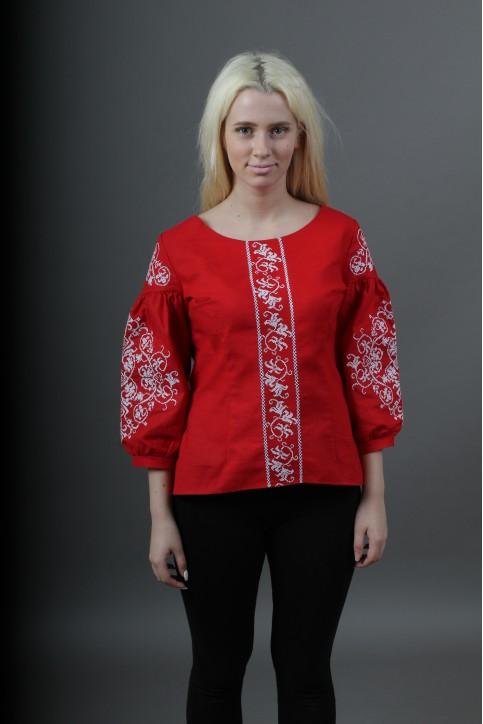 Купити жіночу вишиту сорочку Верховина (червона)в Україні від Галичанка фото 1