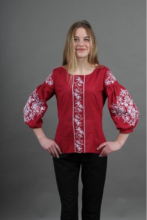 Купити жіночу вишиту сорочку Верховина (вишнева)в Україні від Галичанка фото 1