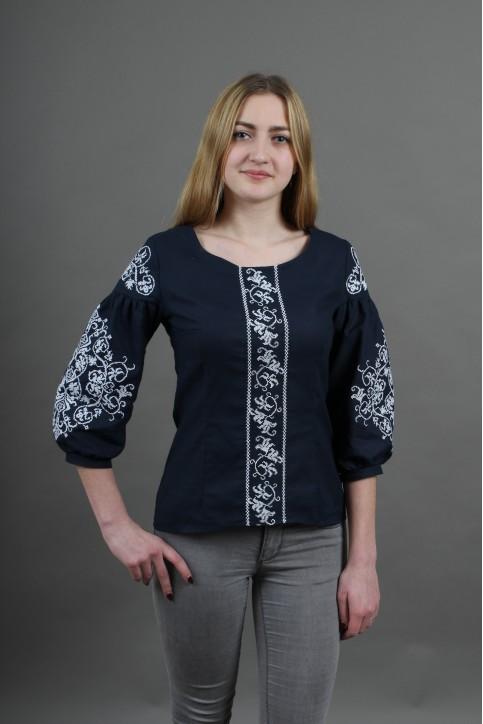 Купити жіночу вишиту сорочку Верховина (темно синя)в Україні від Галичанка фото 1