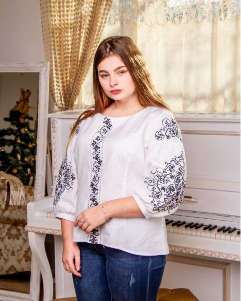 Купити жіночу вишиту сорочку Верховина ( біла з чорним) в Україні від Галичанка фото 1
