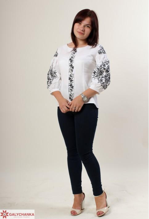 Купити жіночу вишиту сорочку Верховина (біла з чорним)в Україні від Галичанка фото 1
