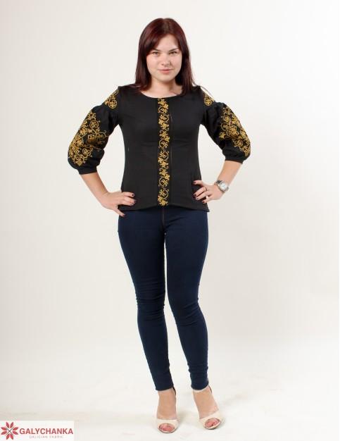 Купити жіночу вишиту сорочку Верховина (чорна)в Україні від Галичанка фото 1