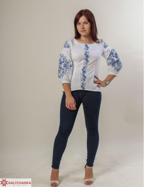 Купити жіночу вишиту сорочку Верховина (біла з синім)в Україні від Галичанка фото 1