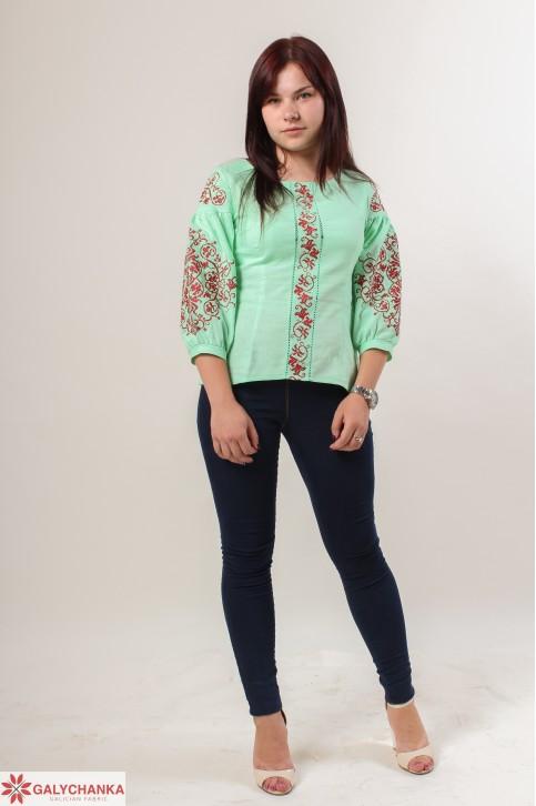 Купити жіночу вишиту сорочку Верховина (салатова)в Україні від Галичанка фото 1