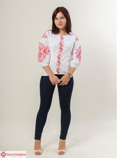 Купити жіночу вишиту сорочку Верховина (біла з червоним)в Україні від Галичанка фото 1