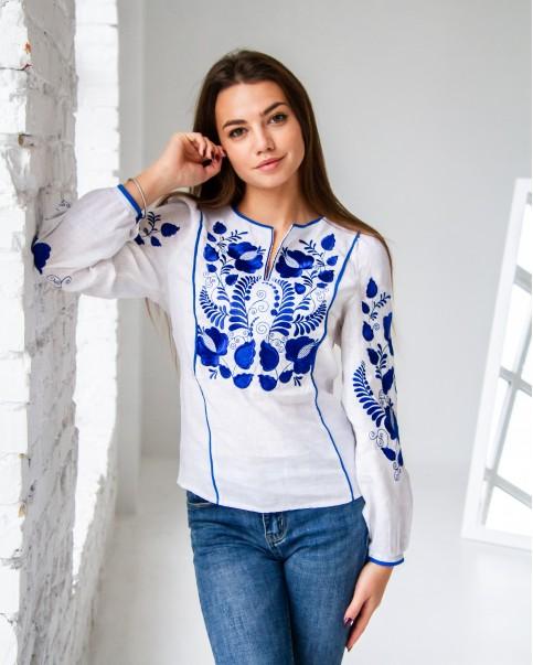 Купити жіночу вишиту сорочку Версавія (білий з синім)в Україні від Галичанка фото 1