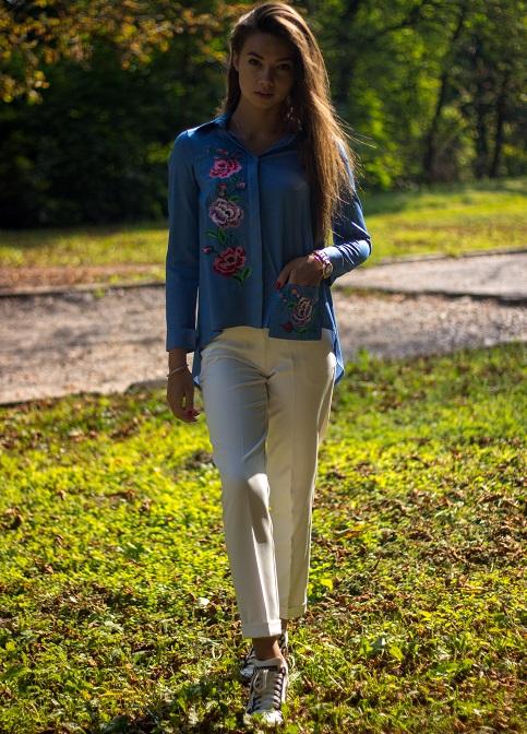 Купити жіночу вишиту сорочку Весняна радість (джинс)в Україні від Галичанка фото 1