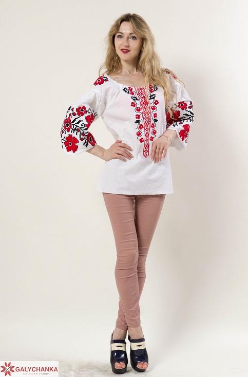 Купити жіночу вишиту сорочку Весняні мрії бохо (біла з червоним)в Україні від Галичанка фото 1