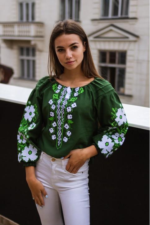 Купити жіночу вишиту сорочку Весняні мрії  (темно зелена)в Україні від Галичанка фото 1