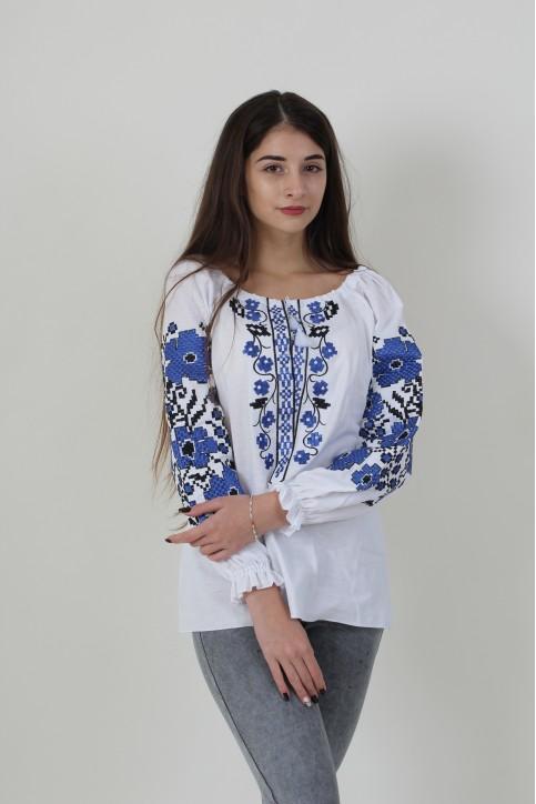 Купити жіночу вишиту сорочку Весняні мрії (біла з синім)в Україні від Галичанка фото 1