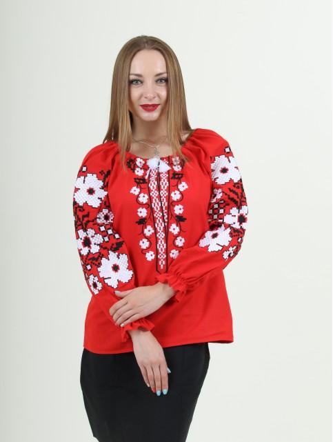 Купити жіночу вишиту сорочку Весняні мрії бохо (червона)в Україні від Галичанка фото 1