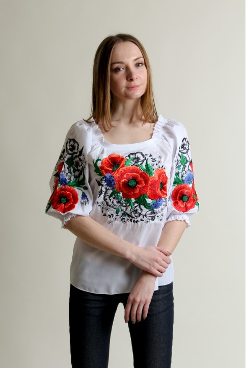 Купити жіночу вишиту сорочку Відлуння (біла)в Україні від Галичанка фото 1