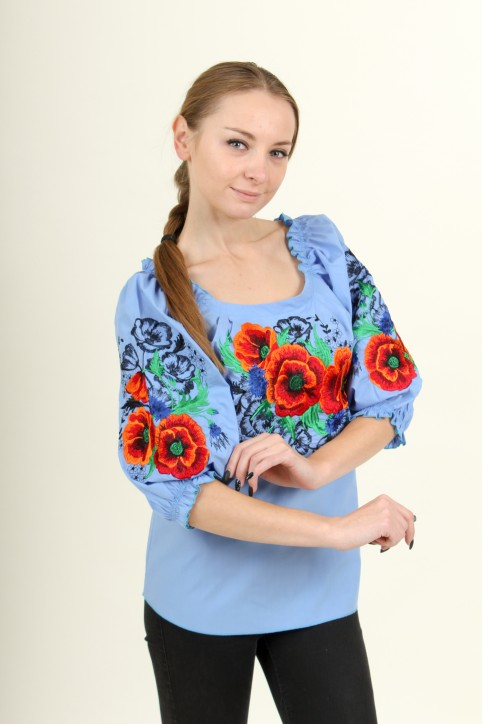 Купити жіночу вишиту сорочку Відлуння (голубе)в Україні від Галичанка фото 1