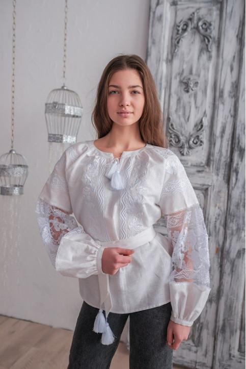 Купити жіночу вишиту сорочку  Виноградна лоза (біла з білим)в Україні від Галичанка фото 1