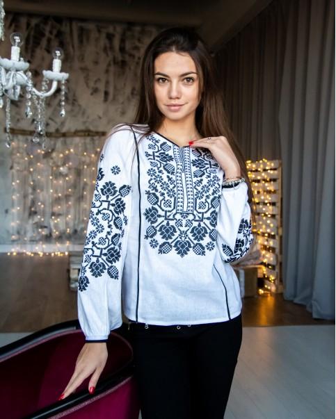 Купити жіночу вишиту сорочку Владана (молочна з чорним)в Україні від Галичанка фото 1