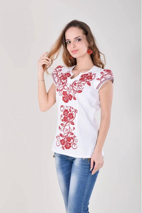Купити жіночу вишиту сорочку Вишиваночка (біла з червоним)в Україні від Галичанка фото 1