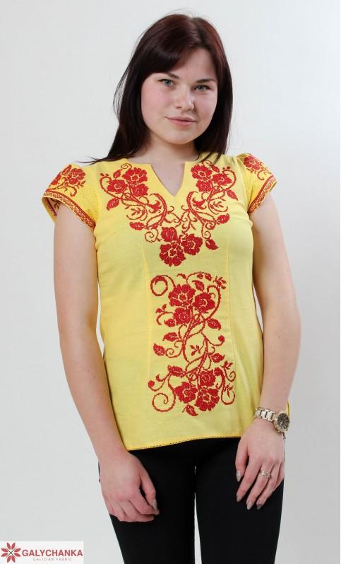Купити жіночу вишиту сорочку Вишиваночка (жовта)в Україні від Галичанка фото 1