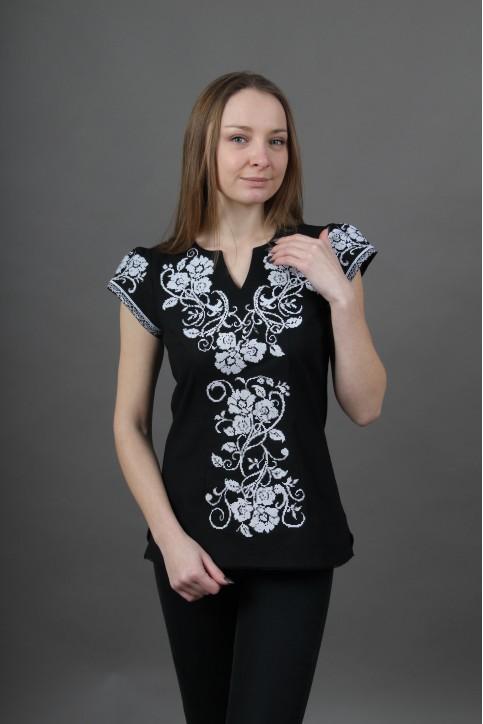 Купити жіночу вишиту сорочку Вишваночка (чорна)в Україні від Галичанка фото 1