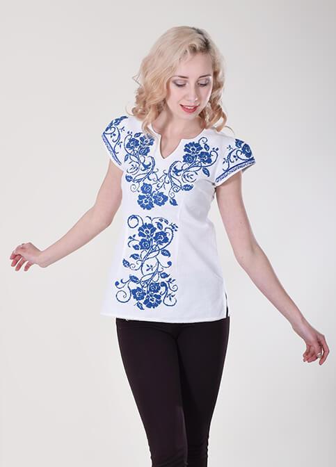 Купити жіночу вишиту сорочку Вишиваночка (біла з синім)в Україні від Галичанка фото 1