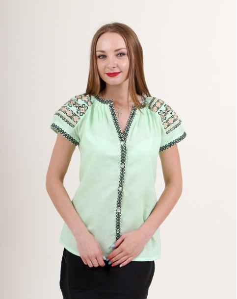 Купити жіночу вишиту сорочку Зіронька (салатова)в Україні від Галичанка фото 1