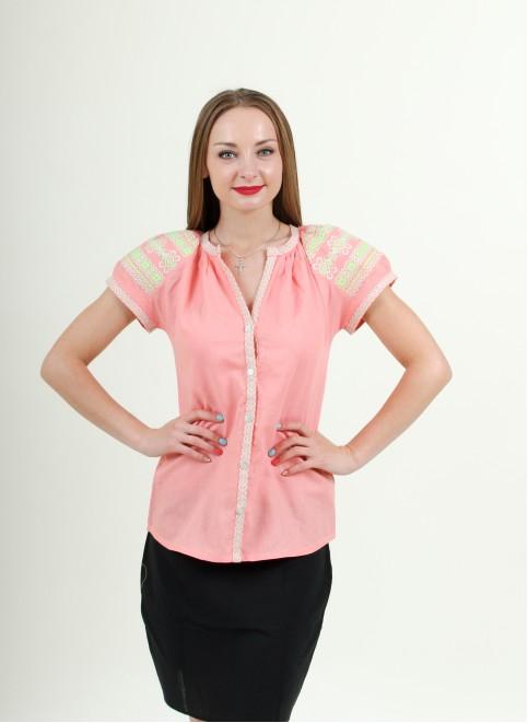 Купити жіночу вишиту сорочку Зіронька (рожева)в Україні від Галичанка фото 1
