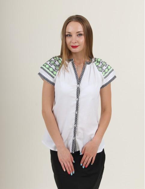 Купити жіночу вишиту сорочку Зіронька (біла з чорним)в Україні від Галичанка фото 1