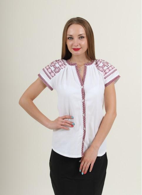 Купити жіночу вишиту сорочку Зіронька (біла з червоним)в Україні від Галичанка фото 1