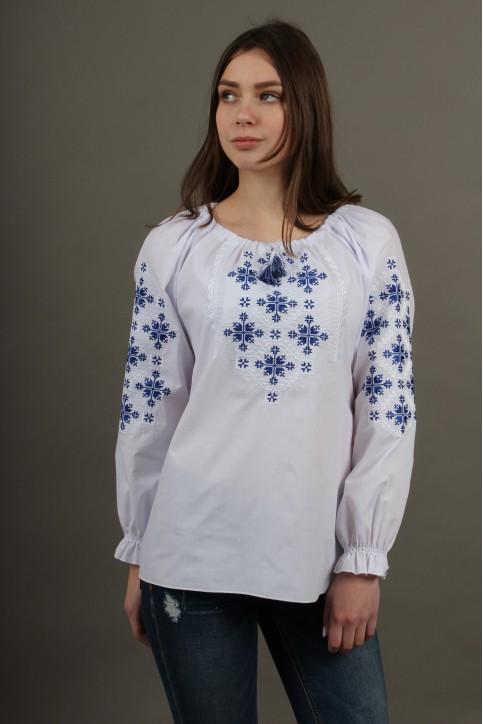 Купити жіночу вишиту сорочку Златоуста (білий  з синім)в Україні від Галичанка фото 1