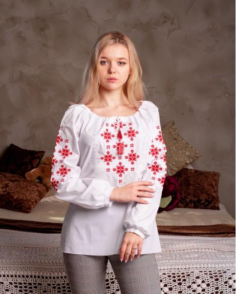 Купити жіночу вишиту сорочку Златоуста (білий з червоним)в Україні від Галичанка фото 1