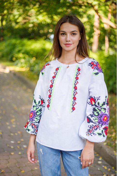 Купити жіночу вишиту сорочку  Анастасія (біла з зеленим)в Україні від Галичанка фото 1