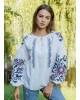 Купити жіночу вишиту сорочку Анастасія (біла з синім)в Україні від Галичанка фото 1