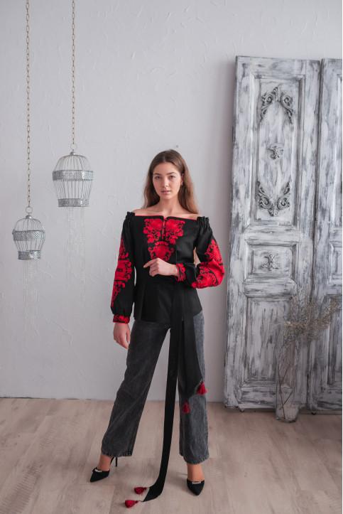 Купити жіночу вишиту сорочку Княжий Амулет (чорна з червоним)в Україні від Галичанка фото 1