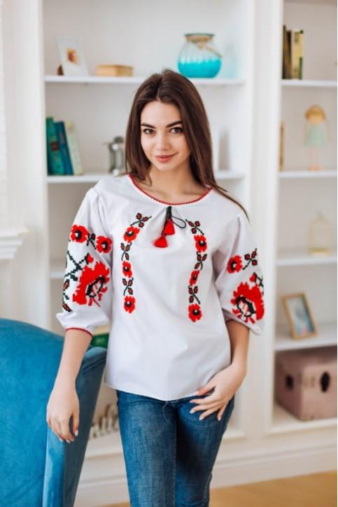 Купити жіночу вишиту сорочку Октава (біла з червоним)в Україні від Галичанка фото 1