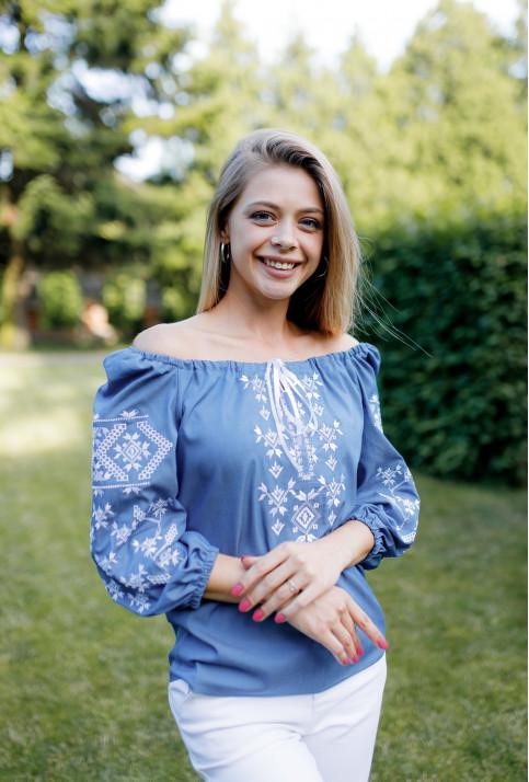 Купити жіночу вишиту сорочку Росана (джинс темний)в Україні від Галичанка фото 1