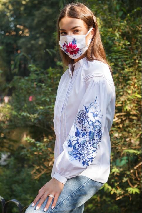 Купити жіночу вишиту сорочку Синя симфонія (біла з синім)в Україні від Галичанка фото 1