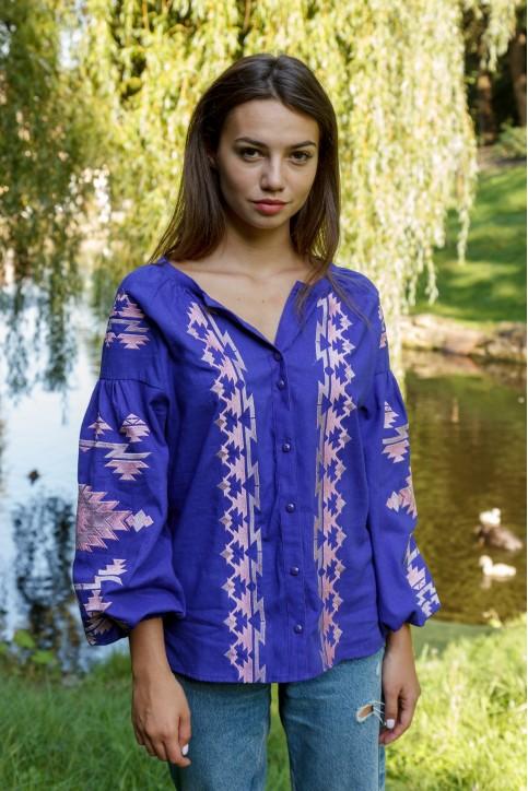 Купити жіночу вишиту сорочку Трембіта (фіолетова)в Україні від Галичанка фото 1
