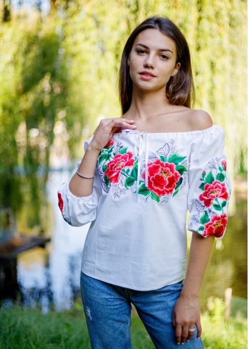 Купити жіночу вишиту сорочку  Юстина (біла)в Україні від Галичанка фото 1