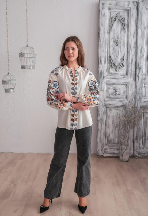 Купити жіночу вишиту сорочку Веснянка ( молочна з голубим)в Україні від Галичанка фото 1