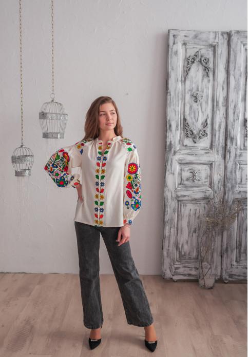 Купити жіночу вишиту сорочку Веснянка ( молочна з кольоровим)в Україні від Галичанка фото 1